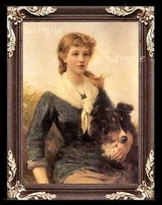 Girl With Her Collie Dog Miniature Dollhouse Art Picture 3006
