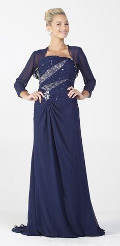 Long Prom Dress Navy Blue Chiffon Strapless Includes Bolero Jacket $297.99