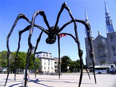 "Louise Bourgeois' giant spider sculpture ""Maman"" / National Gallery of Canada, Ottawa, Canada Louise Bourgeois Maman, Budapest, Statues, Statue En Bronze, Voyage Canada, Top 10 Destinations, National Gallery, National Art, Dragons"