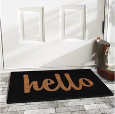 Mercury Row Groesbeck Hello Doormat Rug Size: x Color: Black Front Door Mats, Cute Door Mats, Coir Doormat, Clean Shoes, Welcome Mats, Rug Size, Size 2, Kids Rugs, Inspiration