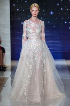 Reem Acra long-sleeve lace wedding ball gown