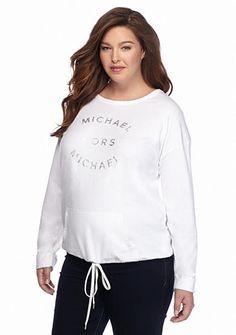 MICHAEL Michael Kors Plus Size Logo Drawstring Pocket Top