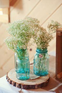 Vaso azul com flores