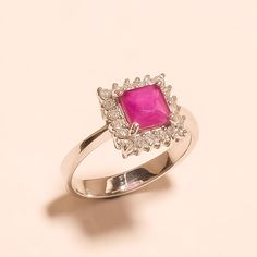Madagascar Pink Sapphire Gems Sterling Silver Ring Solitaire Engagement Jewelry #Handmade #Solitaire #WeddingEngagement