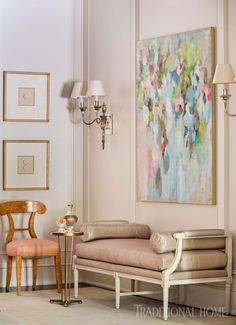 Seating options and focal-point art create a moment to pause in the entry of this Arkansas home. Decor, Furniture, Interior, Traditional House, Home Decor, Traditional Interior Design, Soothing Colors, Interior Design, Entry Furniture