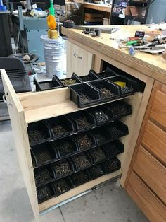 Photo photo The post photo appeared first on Werkstatt ideen.Photo photo The post photo appeared first on Werkstatt ideen.DIY Workbench Ideas For Successful Future Projects Nail storage without sawdust in the containers Nail storage without Garage Workshop Organization, Garage Tool Storage, Workshop Storage, Garage Tools, Workshop Ideas, Workbench Organization, Organization Ideas, Workshop Design, Wood Workshop