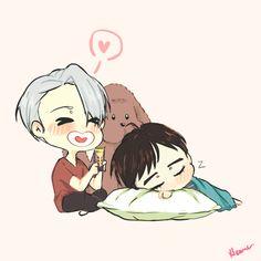 YoI Trash  — Viktor and Makkachin try to soothe sleeping Yuuri #sleepingbeauty