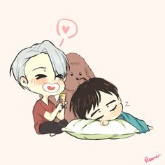 YoI Trash  — Viktor and Makkachin try to soothe sleeping Yuuri...