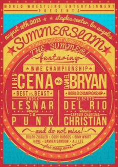 A retro typography poster created for WWE Summerslam 2013 #wwesummerslam #ricgray #retroposter #typography #vintageposter #wrestling #wwe