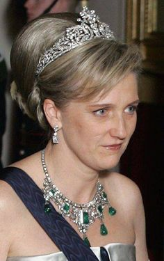 HRH Princess Astrid of Belgium, during the gala party of king Harald's 70th birthday wore two Savoy-Aosta jewels