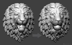 Lion head 3d model. Angry and calm versions. Zbrush sculpting used layers. Ready to 3d-printing: http://voronart.com/lion-head-3d-print/