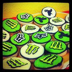 Monster Energy, Fox racing and dirtbike cookies! Loved these for my sons birthday party!