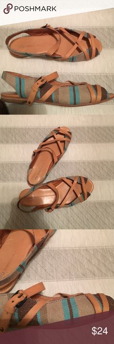 Anthropologie Schuler & Sons Sandal Super adorable linen and leather sandals from Anthropologie. Brand is Schuler & Sons Philadelphia. Very slight wear. In good condition. Only wore a handful of times. Anthropologie Shoes