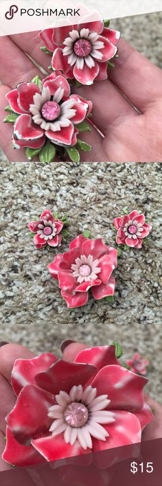 Vintage enamel flower earring brooch pin set Pink and white enamel over brass. Clip-on earring style with matching large brooch. Some chipping but overall excellent condition. Brooch is approximately 2 inches wide. Earrings are approximately an inch wide. Vintage Jewelry Earrings