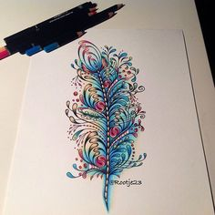 zentangle feather drawing doodle on Instagram