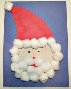 Christmas Craft for Kids (Santa)    http://www.kiboomu.com/2011/11/27/cotton-ball-santa-craft/