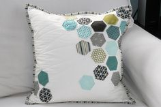 White Cushion with Teal & Olive Hexi's