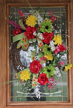 spring door wreath - Maybe better colors? Spring Door Wreaths, Easter Wreaths, Deco Mesh Wreaths, Summer Wreath, Wreaths For Front Door, Holiday Wreaths, Flower Wreaths, Wreath Crafts, Diy Wreath