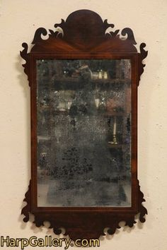 I have one very similar  the glass is very cloudy  Georgian Chippendale Antique 1770 Looking Glass Mirror