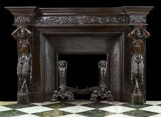 Античный французский резной черного дерева камин камин Satyr