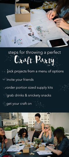 Pinterest party, anyone? Portion sized craft supply kits and instructions for a Girls' Night with crafting!