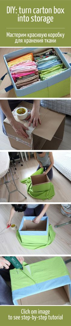 DIY: turn carton box into fabric storage Diy Crafts Videos, Crafts To Make, Fabric Covered Boxes, Cardboard Box Crafts, Craft Storage, Fabric Storage, Storage Boxes, Carton Box, Affordable Home Decor