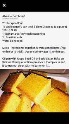 Alkaline Vegan cornbread with Dr Sebi approved ingredients Alkaline Foods Dr Sebi, Alkaline Diet Plan, Alkaline Diet Recipes, Alkaline Bread Recipe, Vegan Foods, Vegan Recipes, Cooking Recipes, Vegan Meals, Vegetarian Food