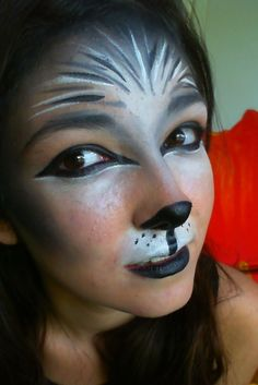 WOLF ANIMAL MAKEUP - use earth tones to make it more bear like, make eyes round.