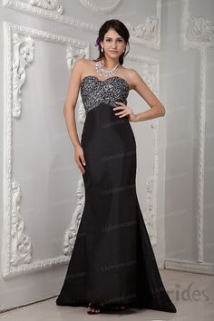 A-line Sweetheart Sequins Stretch Satin Sweep/Brush Train Evening Dress
