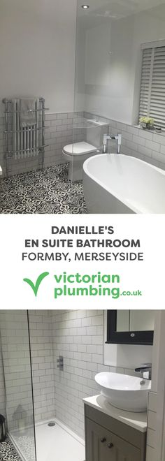 street flooring See how Danielle has achieved the modern traditional look in her brand new en suite bathroom. Danielles ensuite shower room features white wall tiles and modern fixtures above a dramatic Moroccan tiles bathroom floor. Bathroom Design Small, Bathroom Interior Design, Modern Bathroom, Master Bathroom, Downstairs Bathroom, Bath Design, Tile Design, Seaside Bathroom, Cottage Bathrooms
