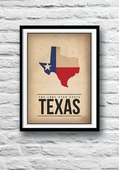 Texas state map poster - The Lone Star State with distressed paper effect **MORE STATE POSTERS COMING SOON**  Original poster print only available at