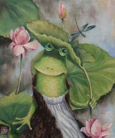 Инга Измайлова масло холст лягушка лотосы живопись