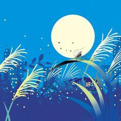満月 十五夜 お月見 鈴虫 カレンダーイラスト
