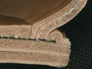 Detail of a welted construction at the heel