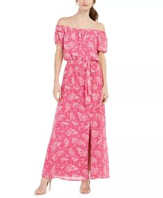 INC International Concepts - Off-The-Shoulder Paisley-Print Maxi Dress Closet Collection, Pink Punch, Maxi Styles, Review Dresses, Paisley Print, Off The Shoulder, Elegant, Women, Neckline
