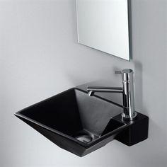 Black Thin Square - Lille sort håndvask i flot design til vægmontering