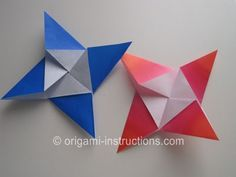 completed-origami-4-pointed-star on Origami-Instructions.com.  Many origami tutorials