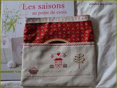 Pochette Eté SAL Les Quatre Saisons Coin Purse, Lunch Box, Wallet, Purses, Handkerchief Dress, Cross Stitch, Embroidery, Atelier, Handbags