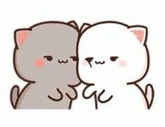 Chibi Cat, Little Panda, Cute Gif, Cute Funny Animals, Animated Gif, Conversation, Hello Kitty, Gifs, Animation