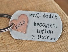 We Heart Daddy - Hand Stamped & Personalized Copper Key Chain -Add your Kids Name's in Child's Handwriting Font Valentine Day Gifts, Valentines, Monogram Jewelry, Girls Hand, Handwriting Fonts, Kid Names, Metal Stamping, Key Chain, Craft Gifts