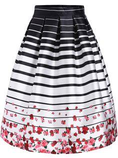 Black White Striped Rose Print Flare Skirt 24.38