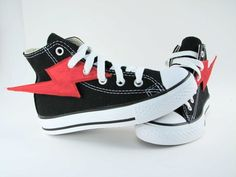 Superhero Shoes- Red Lightning. $17.00, via Etsy.  I could make these for my kids for whatever shoes they already have!