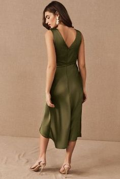 Chic and silky, this charmeuse slip dress is perfectly draped for the most flattering silhouette. Only available at BHLDN Olive Green Bridesmaid Dresses, Tea Length Bridesmaid Dresses, Beautiful Bridesmaid Dresses, Olive Green Dresses, Bridesmaids, Forest Green Dresses, Vert Olive, Mothers Dresses, Bhldn