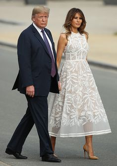 First Lady Melania Trump made an appearance in a Delpozo midi dress on Sunday, August 20 — see more of her most stylish looks here Dress Outfits, Fashion Dresses, White Dress Outfit, Fashion Fashion, Blue Dresses, Summer Dresses, First Lady Melania Trump, Melania Trump Dress, Frack