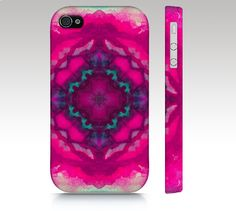iPhone 4s case, iPhone 5c case, iPhone 5 case, iphone 5s watercolor design, abstract mandala case, pink mint kaleidoscope art for your phone...