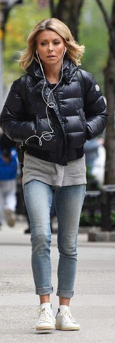 Kelly Ripa wearing Moncler and Etoile Isabel Marant