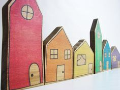Rainbow Village Blocks - A Waldorf and Montessori Inspired Stacking, Building, and Pretend Play Learning Toy