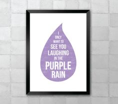 Purple Rain Prince Song Lyric Quote 8x10 Typography  by LyricWall, $9.62