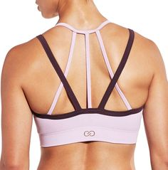 508e7af828 CALIA by Carrie Underwood Women s Inner Power Strappy Halter Seamless  Heather Sports Bra