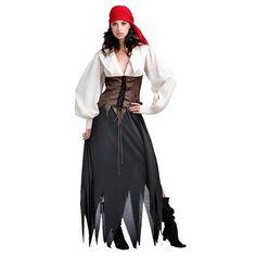 disfraz mujer pirata.  pañuelo rojo. camisa blanca de mangas holgadas falda negra.